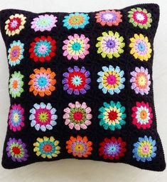 crochet granny square cushion cover / pillow by handmadebyria