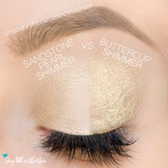 Buttercup Shimmer and Sandstone Pearl Shimmer ShadowSense side by side comparison.  These long-lasting SeneGence eyeshadows help create envious eye looks.  #eyeshadow #shadowsense
