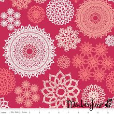 New!! Doilies on Red Lost & Found Love Laminated Cotton at Modern June, the Oilcloth Addict.