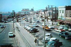 1950's Redondo Beach California with Fox Redondo Movie theater in center background. Unknown Photographer.
