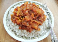 Slow Cooker Cabbage Casserole - Uses Spaghetti Sauce!