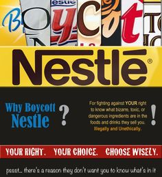 """Nestle illegally donated $1,052,723 (yes, over 1 million!) to fight against Initiative 522, which, if passed, would require the labeling of foods containing genetically modified """"frankenfoods"""".  Nestle doesn't believe that YOU should have the right to know what's really in the foods and drinks you consume.  Do you?"""