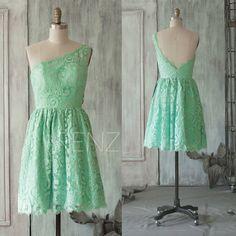2015 Mint Lace Bridesmaid dress One Shoulder Wedding by RenzRags