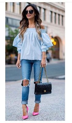 Blues Oufits Casual, What Is Fashion, Blue Jeans, Off Shoulder Blouse, Spring Fashion, Purses And Bags, Looks Great, Summer Outfits, Girly