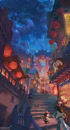 Anime Backgrounds Wallpapers, Anime Scenery Wallpaper, Cute Cartoon Wallpapers, Animes Wallpapers, Fantasy Art Landscapes, Fantasy Artwork, Landscape Art, Anime Artwork, Aesthetic Art