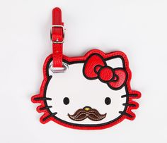 Hello Kitty Luggage Tag: Mustache