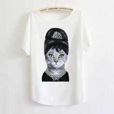 Wholesale Product Snapshot Product name is Frescos Punk T-shirt da forma das mulheres Top T-shirt t 2013 Verão fresco Retro Vintage Elegant Angel Audrey Hepburn Cat manga batwing