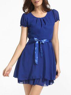 #AdoreWe #FashionMia Skater Dresses - FashionMia Bowknot Round Neck Chiffon Plain Skater-dress - AdoreWe.com