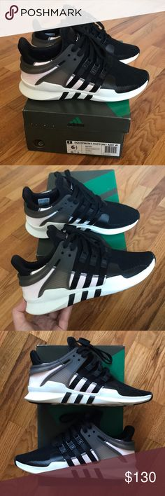 Adidas EQT Support ADV Women's 6.5 Excellent condition, hard to find, women's size 6.5 eqt's. Black, with very light baby pink. No flaws, gently worn maybe 3x. Super comfortable and stylish. My price is pretty firm on these. They run big, as most adidas do, will fit a women's 7 nicely. Please know your size in adidas before purchasing:) adidas Shoes Athletic Shoes