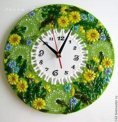 Часы для дома ручной работы. Ярмарка Мастеров - ручная работа. Купить фьюзинг, часы из стекла  Одуванчики. Handmade. Зеленый, одуванчики