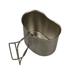 G.I. Type Stainless Steel Canteen Cup - Designed to fit 1 quart canteen, this canteen cup is made of heavy gauge stainless steel and features a butterfly handle.