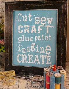 Cut Sew Craft Glue Paint Imagine Create sign digital PDF  - blue inspiration art words vintage style primitive 8 x 10 frame saying via Etsy