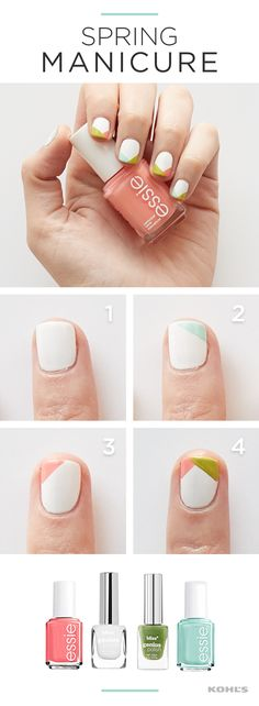 Spring clothes, spring shoes, spring haircuts...why not throw in a spring manicure? Paint your nails in the prettiest spring colors with this geometric mani using essie and bliss nail polish. The key to this fresh look? Make every nail a different color combination! Get gorgeous with Kohl's.