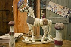 Old wooden horse and skittles