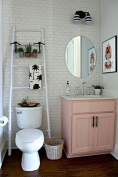 Say goodbye to boring neutrals and incorporate a pink into your bathroom. Here are 20 pink bathroom ideas that we love. For more interior inspiration and design decor apartment bathroom 5 Pink Bathroom Ideas That Are Flattering for Everyone Cute Bathroom Ideas, Bathroom Ideas On A Budget Small, Small Bathroom Makeovers, Cheap Bathroom Makeover, Ideas To Decorate Bathroom, Pictures In Bathroom, Storage Ideas For Bathroom, Bedroom Ideas For Couples On A Budget, Small Bedroom Decor On A Budget