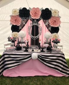 Paper flower backdrop in colors white, pink, black and silver used for a CHANEL theme babyshower. Thank you for trusting us Beautiful candy table set up made by go take a look for her amazing work! Chanel Party, White Table Settings, Wedding Table Settings, Paris Rosa, Paris Themed Birthday Party, Spa Birthday, Chanel Birthday Party, Birthday Ideas, Barbie Party