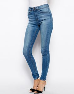 ASOS Ridley High Waist Ultra Skinny Jeans in Colorado Mid Stonewash