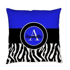 Blue Zebra Monogram Personalized