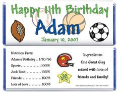BD228 - Sports Birthday Candy Bar Wrappers