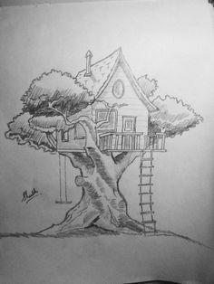 Up house drawing in coloured pencils, Landscape Pencil Drawings, Pencil Sketch Drawing, Art Drawings Sketches Simple, Pencil Art Drawings, Cool Drawings, Drawing Drawing, Pencil Sketches Of Nature, Landscape Sketch, Paper Drawing