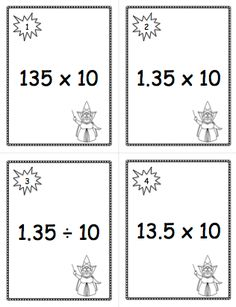 Scoot or Task Cards: multiplying and dividing decimals and whole numbers by 10 and 100. $ CCSS Grade 5.