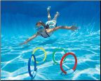 Dive Rings Swimming Pool Toys: Simply toss the dive rings into the pool and they will gently sink to the pool's bottom. These swimming pool toys are a fun challenge for kids and even pets to retrieve. Use these pool toys in a swimming pool game to see how many you can retrieve with only one breath!
