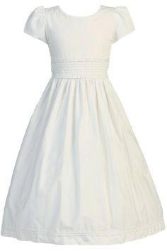 100% Cotton Smocked First Holy Communion Dress w 100% Cotton Lining (Girl's Sizes 7 to 12)