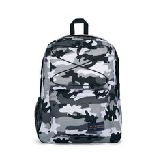 JanSport Flex Pack Backpack features: Made in part with recycled materials One large main compartment with bungee cord system to manange over flow storage Internal sleeve fits 15 in laptop Side water bottle pocket Front Zipper Pocket with organizer Fully padded back panel Camo Backpack, Jansport Backpack, Mini Backpack, Handbags For School, Bungee Cord, Pink Parties, School Backpacks, Laptop Sleeves, Recycling