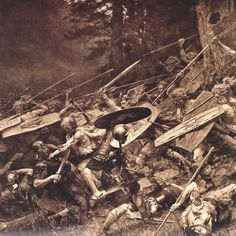 Germanic Tribes Charging the Roman Troops - The Battle of Teutoburg Forest in 9 A.
