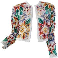Naeem Khan Tropical Beaded Bolero (29 920 UAH) ❤ liked on Polyvore featuring outerwear, jackets, naeem khan, evening bolero, beaded bolero, evening bolero jacket and white bolero jacket