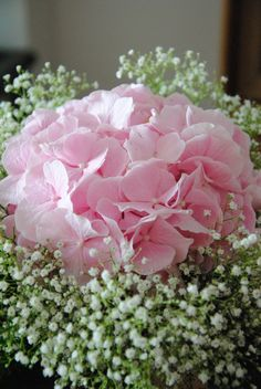 Pink hydrangea and baby's breath bouquet