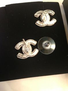 Authentic Chanel Silver Colored Metal Earrings New Color