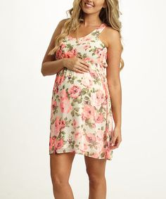Another great find on #zulily! PinkBlush Ivory Floral Maternity Shift Dress #zulilyfinds