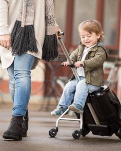 Micro Eazy Ride On Suitcase - Black. Buy now at Micro Scooters UK for the lowest prices with 28 day no quibble returns. Toddler Luggage, Kids Luggage, Toddler Travel, Travel Tips With Baby, Traveling With Baby, Baby Activity Chair, Flying With A Toddler, Best Travel Luggage, Bff Birthday Gift