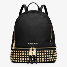 MICHAEL Michael Kors Rhea Small Studded Leather Backpack Black