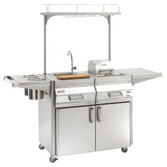 Includes everything you need for an outdoor bar - Fire Magic Apollo Beverage Center On Portable Cart : BBQ Guys Outdoor Kitchen Bars, Outdoor Kitchen Design, Outdoor Bars, Outdoor Kitchens, Fire Magic, Outdoor Refrigerator, Condiment Holder, Beverage Center, Basic Kitchen