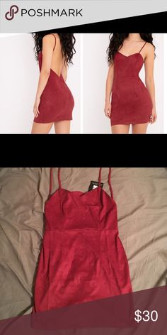 Suede burgundy dress NEW never worn burgundy suede low back bodycon dress in perfect condition, tagged as a U.K. size 10 but is a US size 6. Dresses Backless