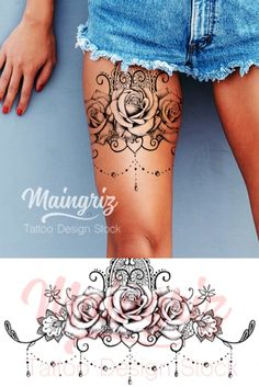 Thigh Garter Tattoo, Thigh Band Tattoo, Lace Thigh Tattoos, Lace Garter Tattoos, Ladies Thigh Tattoo, Body Art Tattoos, Sleeve Tattoos, Tatoos, Rosary Tattoos
