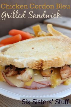 Chicken Cordon Bleu Grilled Sandwich from Six Sisters' Stuff