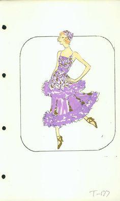 Bluebell 'Turkey Trot' Costume designed by Pete Menefee for Jubilee! Fashion Drawings, Fashion Sketches, Fashion Art, Fashion Design, Vegas Showgirl, Edith Head, Old Shows, Showgirls, Fashion Plates