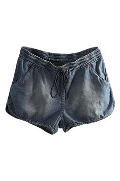 ROMWE | ROMWE Washed Drawstring Elastic Dark-blue Denim Shorts, The Latest Street Fashion