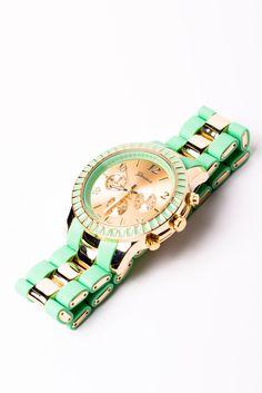Mint + Gold Enameled Boyfriend Watch want it! Aqua, Turquoise, Jewelry Accessories, Jewelry Box, Jewelry Watches, Sandro, Grunge, Mint Gold, Mint Green