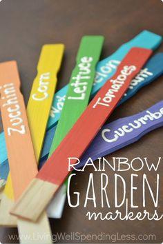 DIY Rainbow Garden Markers   #Garden #Markers #Rainbow