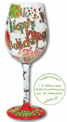 """Lolita Holiday 2011, Wine Glass, Happy Holidays by Santa Barbara Design Studio. $37.00. Glass. 9"""". Lolita Wine Glass Christmas Happy Holidays by Santa Barbara Design Studio. Sure to be a hit at your next cocktail party, this lovely glass from Santa Barbara Ceramic Design is an officially licensed item by artist Tracey 'Lolita' Yancey. Each glass is distinctly gift boxed, and includes unique recipe on bottom of glass."""