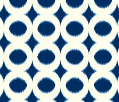navy cream circle ikat fabric by domesticate on Spoonflower - custom fabric