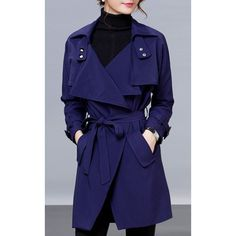 Stylish Long Sleeve Belted Pocket Solid Color Trench Coat For Women (£23) ❤ liked on Polyvore featuring outerwear, coats, cadetblue, trench coat, blue trench coat, pocket coat, blue coat and belted coat
