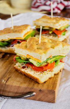 Stacked Veggie Sandwiches on Focaccia with Sun-Dried Tomato Aioli