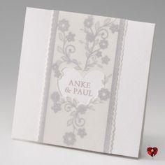 Hochzeitskarte | Blumen silber
