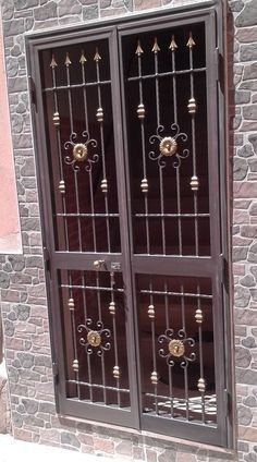Main Entrance Door Design, Wooden Front Door Design, Front Gate Design, Door Gate Design, House Gate Design, Window Grill Design Modern, Grill Gate Design, Steel Gate Design, Wrought Iron Doors