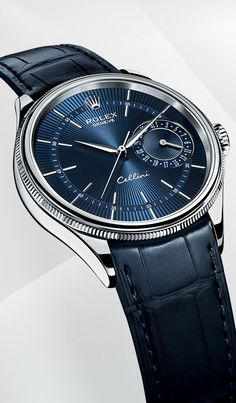 The Rolex Cellini Date in 18 ct white gold with a blue dial and blue leather strap.